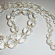 "27"" Lead Crystal Necklace with Graduated Faceted Clear Beads"