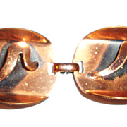 50's Copper Geometric Bracelet; Mid-Century Modern