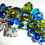 3&quot; Silvertone Grape Leaf Pin / Brooch with Cobalt and Lime Crystals