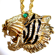 Dramatic Hattie Carnegie Roaring Tiger Necklace with Green Eyes