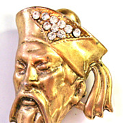 Thelma Deutsch Chinese Mandarin Scholar Pin / Brooch in Goldtone