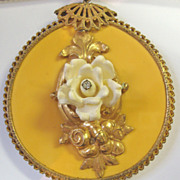 Miriam Haskell Necklace with Filigree Disc & White Rose Motif