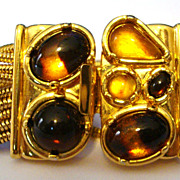 Slinky Monet Bracelet with Amber & Gold Colored Stones
