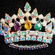 Beautiful B. David Rhinestone Crown Brooch