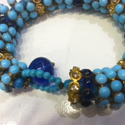 Gripoix Blue and Turq. Poured Glass Bracelet 1960's