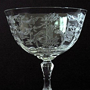 REDUCED Fostoria Navarre Etch Stem 6016 Saucer Champagne Glass