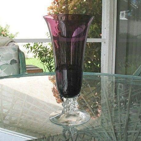 Fostoria Vase Tall Amethyst Burgundy to Clear