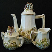 SALE Lefton Teapot, Sugar and Creamer Vineyard Set
