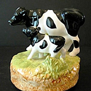 Music Box Mom Cow with Calf Otagiri Ceramic 1970s-1980s