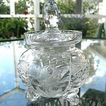 Hand Cut Lead Crystal Condiment Jar Vintage