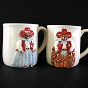 Otagiri 4 Mugs  Bear  Cowboy Sheriff Ceramic Made in Japan