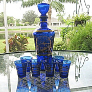 SALE Cobalt Blue Gold Decanter 6 Cordials Made in Italy