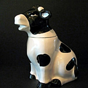 Black and White Cow Cookie Jar Vintage Taiwan