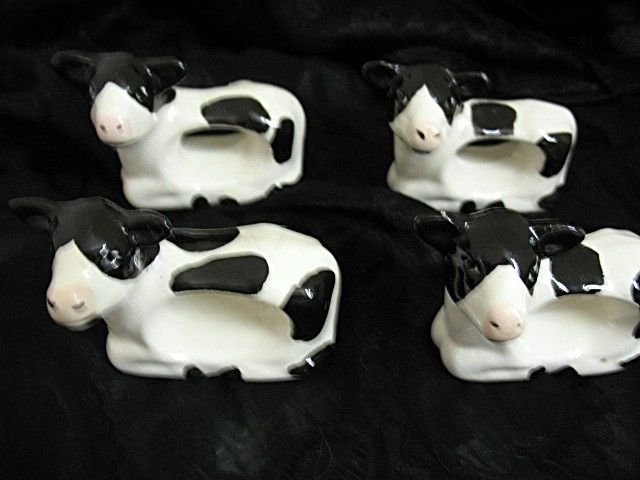 Napkin Rings 4 Ceramic Black White Cow Vintage