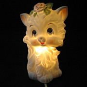 Lefton White Kitty Night Light