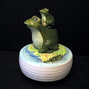 Otagiri Music Box Frog Mom and Baby 1970