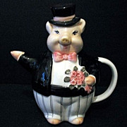 Gentleman Pig Tea Pot Vintage Porcelain Taiwan