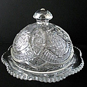 Butter Dish  Aztec Sunburst Pattern McKee Glass
