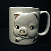 Otagiri 4 Mugs Fat Pig  1979 Made In Japan