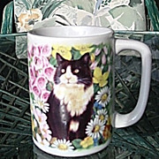 Mugs Tuxedo Cat Daisies Otagiri Made in Japan