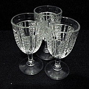 EAPG 3 Wine Glasses McKee Glass Feather  Swirl