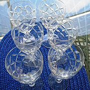 SALE Water Goblets  6 Cut Crystal Criss-Cross Twist Stems