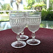 EAPG 3 Wine Glasses Loop Dewdrop U.S. Glass 1892