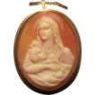 Oval Shell Cameo brooch/pendant depicting the Holy Virgin holding the little Jesus, set in eighteen karat yellow gold, 19th century