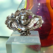 Antique silver brooch in the shape of an angel, 19th century