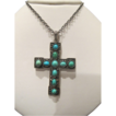 Turquoise Cabochon pendant cross set in silver, 19th century