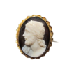 Oval Sardonyx (hardstone) Cameo brooch depicting the profile of a mythological figure, 19th century