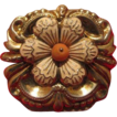 Gilded silver brooch with a white enamel flower and a Coral in the center