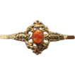 Antique Coral Cameo and fourteen karat yellow gold brooch
