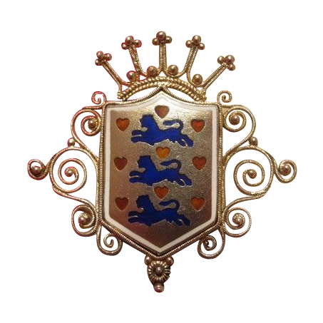 Gilded silver and Enamel brooch in the shape of a coat of arms and a crown on the top, 19th century