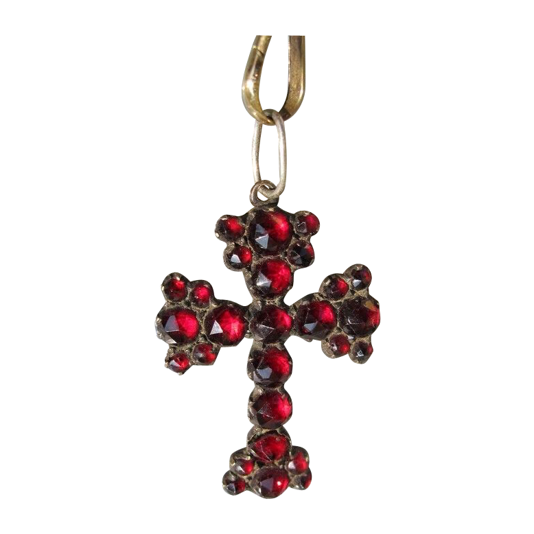 Antique Victorian Garnet cross pendant