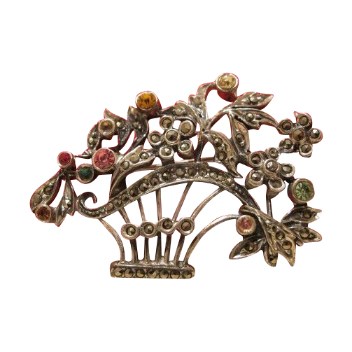 Antique silver brooch in the shape of a flower basket, 19th century
