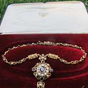 Antique gilded silver necklace with Garnets and pearls