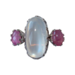 Moon stone cabochon and rose Sapphire ring set in fourteen karat white gold