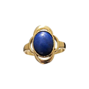 Fourteen karat yellow gold ring with a Lapis Lazuli cabochon