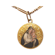 Antique 21 karat and 14 karat yellow gold and enamel pendant, 19th century
