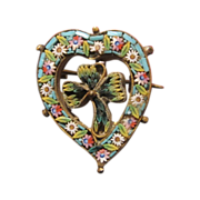 Antique Micro Mosaic brooch in the shape of a heart and a clover leaf, 19th century