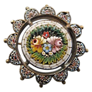 Antique Micro Mosaic brooch depicting flowers, 19th century
