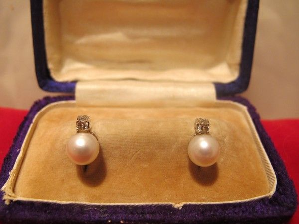 South Sea cultured pearl  and diamond earrings, fourteen karat white gold