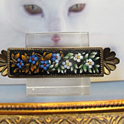 Antique Micro Mosaic brooch depicting blue and yellow flowers, 19th century