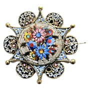 Antique star shaped Micro Mosaic brooch,19th century