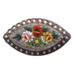 Micro Mosaic brooch with flowers and mother pearl adornment, turn of the 20th century