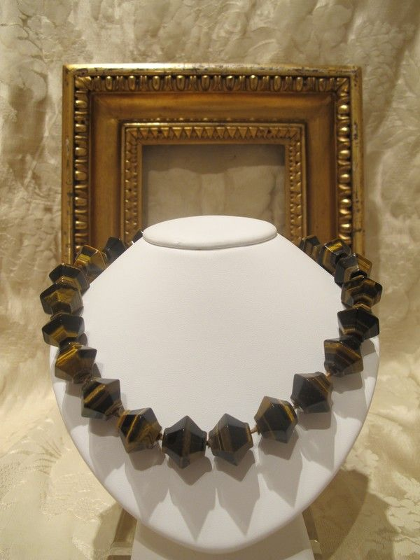 Vintage genuine Tigers eye and silver necklace , dated at about 1970