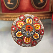 Round Venetian Micro Mosaic brooch dated at the19th century