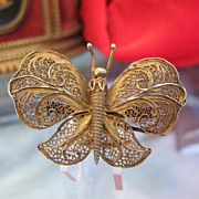 Antique Gilded silver butterfly brooch, 19th century