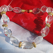Rock crystal necklace with gilded silver spacers, dated at about 1980